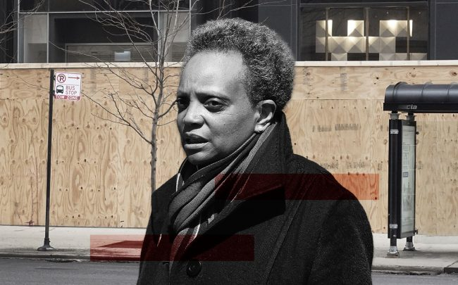 Chicago mayor Lori Lightfoot and boarded up stores along Michigan Avenue (Credit: Jonathan Daniel/Getty Images, and Scott Olson/Getty Images)
