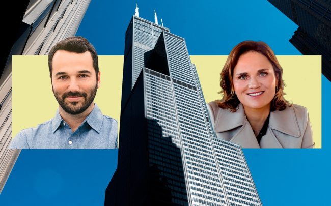 Jamie Hodari, CEO of Industrious and Lisa Picard, CEO of EQ Office with Willis Tower (Industrious; iStock, VTS)