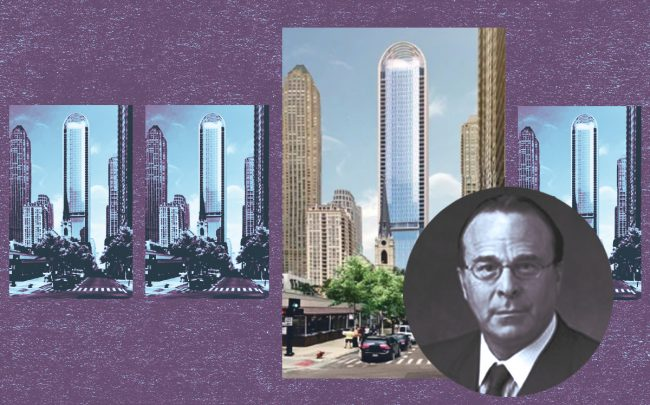 Symmetry's managing partner Jeffrey Laytin and rendering of the proposed tower project (Linkedin, Symmetry Property Development)