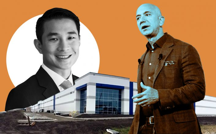 From left: GCP CEO Alan Yang, 3507 West 51st Street and Amazon CEO Jeff Bezos (Courtesy 42 Floors; Getty; GCP)