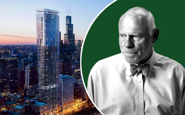 1000M project at 1000 South Michigan Avenue and Time Equities' Francis Greenburger (Photos via Time Equities)
