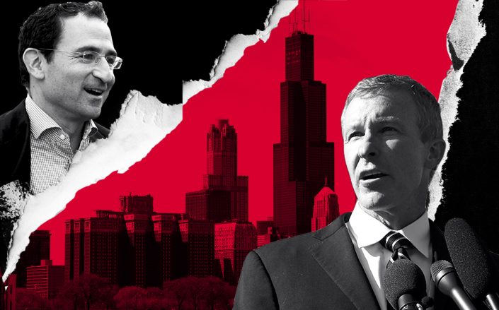 Willis Tower with Blackstone's Jonathan Gray and United CEO Scott Kirby (Getty)