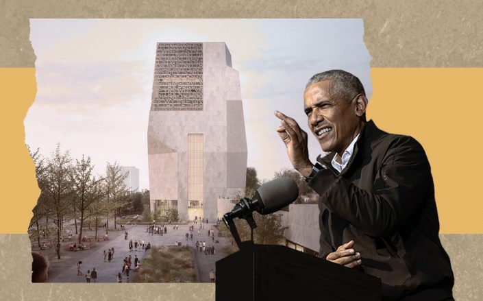 President Barack Obama and a rendering of the Obama Presidential Center (Getty)