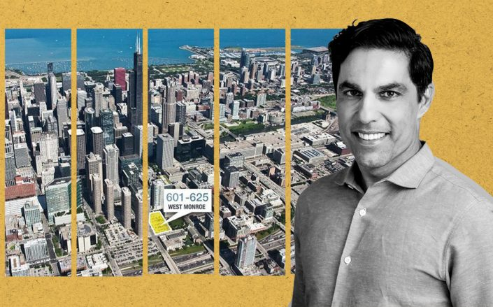 Pacific Reach Properties CEO Azim Jama and an aerial view of 601 W. Monroe St. (Pacific Reach)