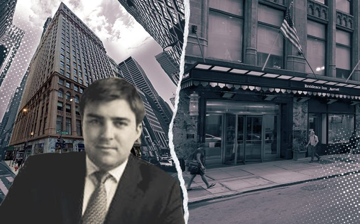 Prime Group CEO Michael Reschke and Residence Inn Chicago Downtown at 11 South LaSalle Street (Linkedin, Google Maps)