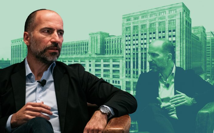 The Old Post Office and Uber CEO Dara Khosrowshahi (Getty, rendering by Gensler)