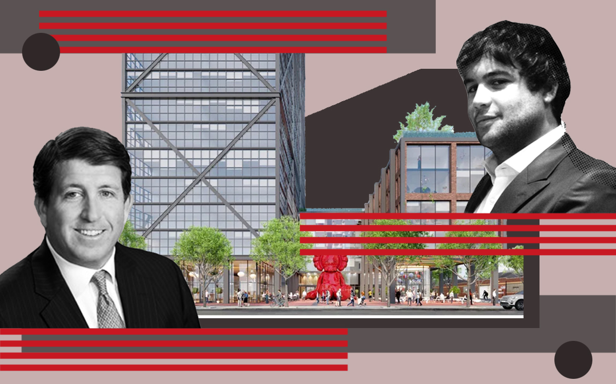 Harrison Street Real Estate Capital's Chris Merrill and Fulton St. Companies' Alex Najem with a rendering of the complex at 1201-1215 West Fulton Street (Fulton St. Companies)
