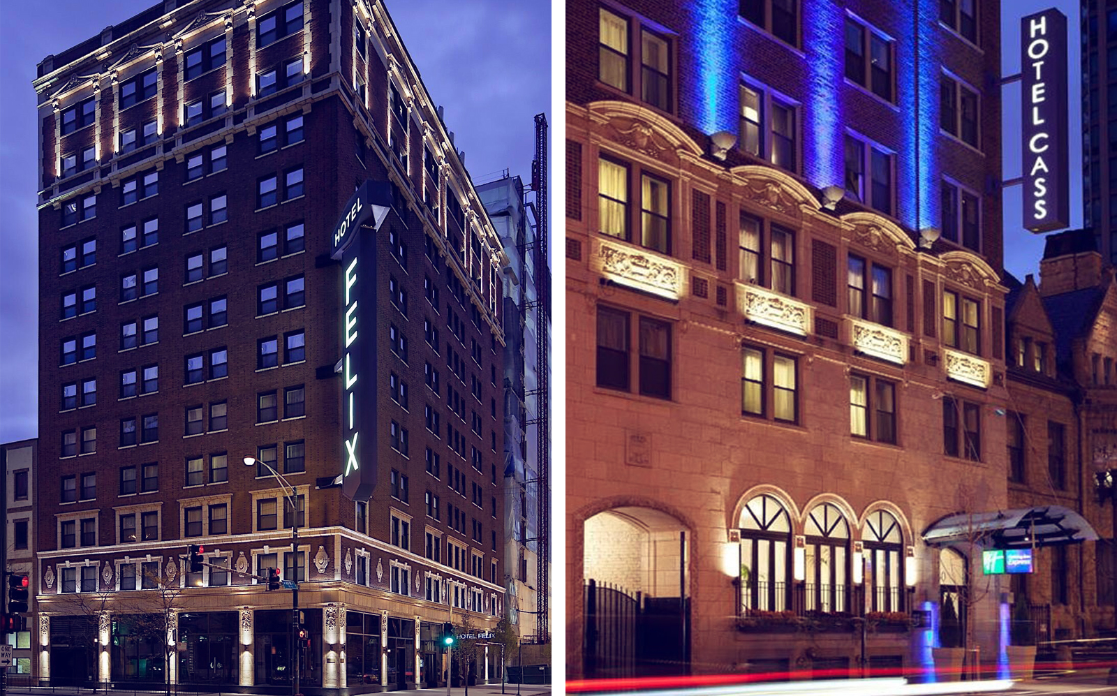 Hotel Felix and Holiday Inn Express Chicago - Magnificent Mile. (Hotel Felix, Hotel Cass)