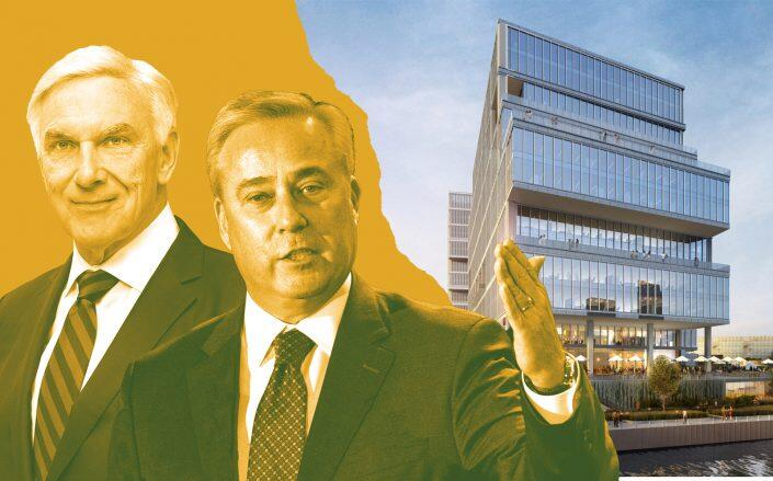 Riverside Investment & Development CEO John O'Donnell and Nexstar Media CEO Perry Sook with a rendering of 700 W. Chicago Avenue (Riverside Investment & Development, Getty, 700 West Chicago)