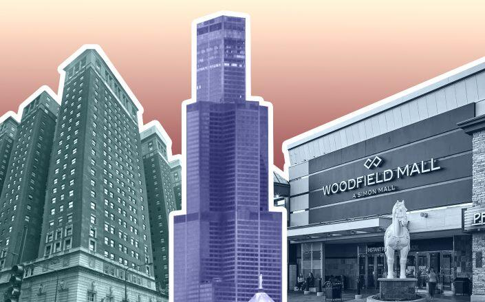 Blackstone Group's Willis Tower, Simon Property Group's Woodfield Mall and the Hilton brand's Hilton Chicago Downtown are among the properties that still owe Cook County back taxes. (Google Maps, Simon, WikiMedia / Chris6d)