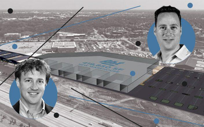 Abt Electronics co-presidents Mike and Jon Abt and a rendering of the Abt Electronics warehouse in Glenview (Abt, McShane Construction)