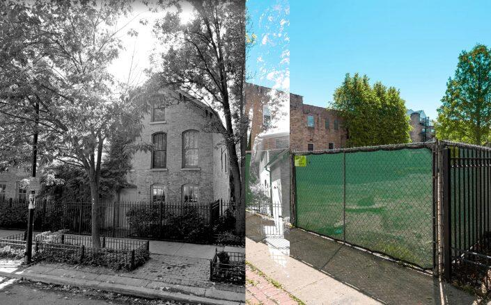 At left, 1820 N. Howe Street before its May 2020 sale. And after. (Google Maps, Jameson Sotheby's)