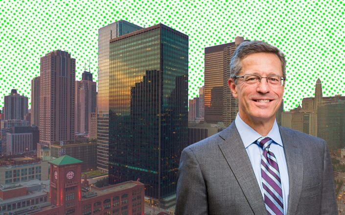 321 North Clark at Riverfront Plaza and Nuveen's Jack Gay, global head of CRE debt (Hines, Nuveen)