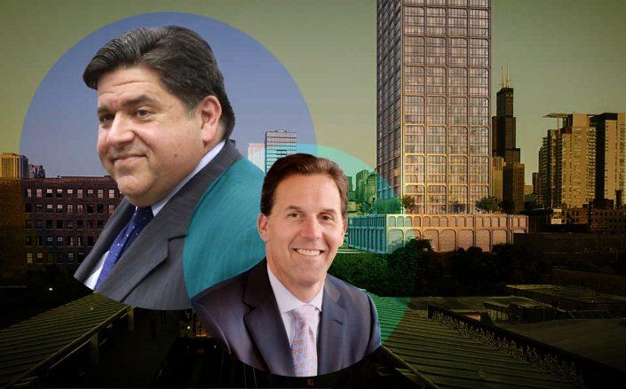 Gov. J.B. Pritzker, Related Midwest President Curt Bailey and Related's condo project (Getty, Related)