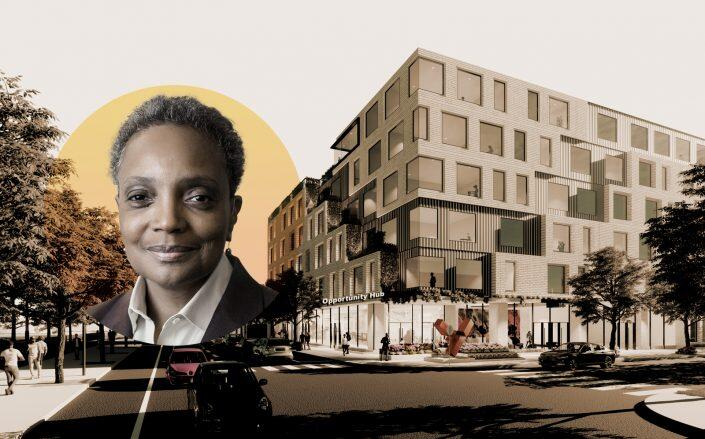 Mayor Lori Lightfoot and a rendering of United Yards, the most ambitious of the projects (City of Chicago)