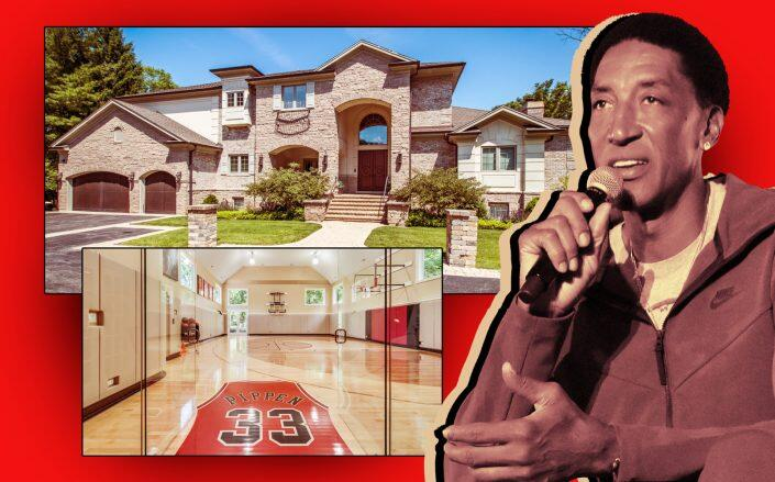 Scottie Pippen and his Highland Park mansion (Getty, Berkshire Hathaway/KoenigRubloff Realty Group)
