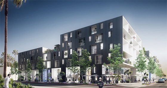 Renderings of 11800 West Santa Monica Boulevard by Lorcan O'Herlihy Architects