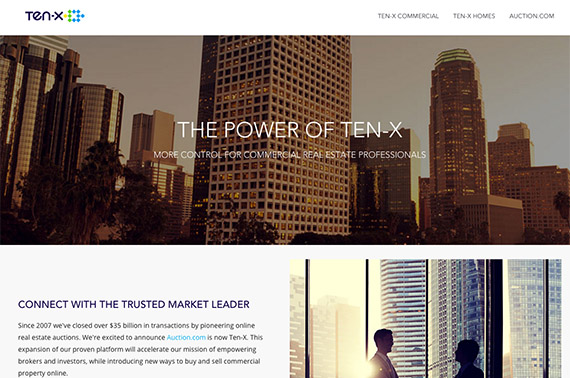 A screenshot of the Ten-X website