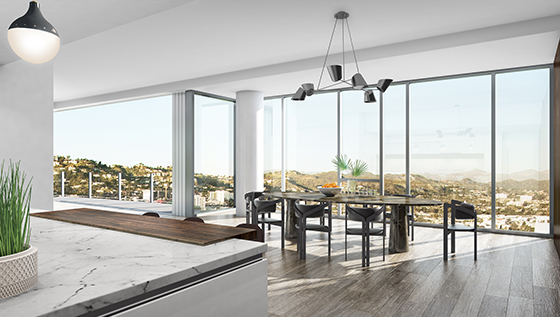 Rendering of a dining room at the Four Seasons Private Residences Los Angeles