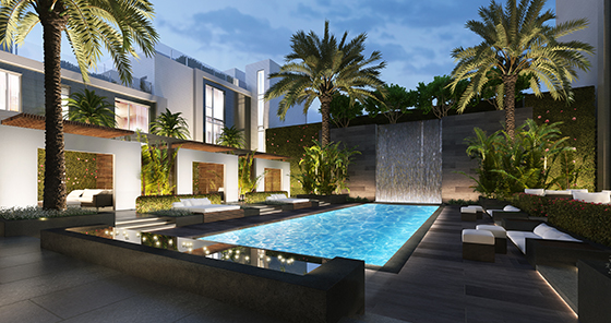 A rendering of the pool deck at the Four Seasons Private Residences Los Angeles