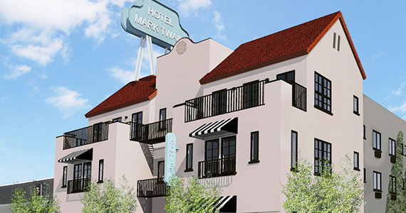 Rendering of Hotel Mark Twain at 1622 North Wilcox Avenue (credit: John Kaliski Architects)