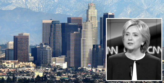 Hillary Clinton and the L.A. skyline (credit: mapio.net, YouTube)