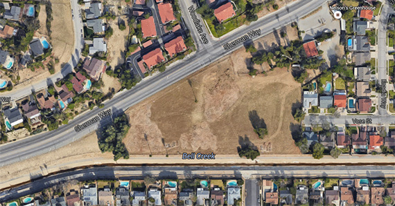 The parcel of land at 7000 North Woodlake Avenue (credit: Google Earth)