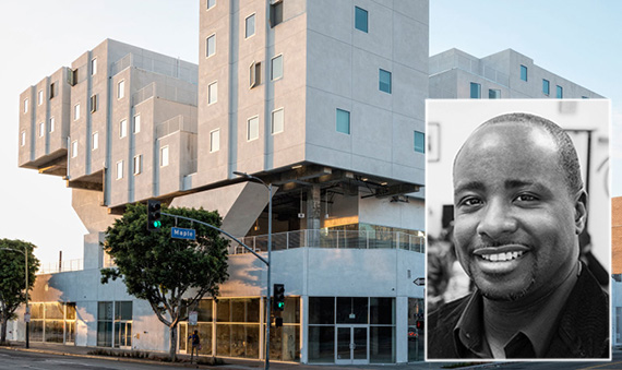 Council member Marqueece Harris-Dawson and an affordable housing complex at 240 East 6th Street developed by the Ski Row Housing Trust (credit: the Durfee Foundation, Skid Row Housing Trust)