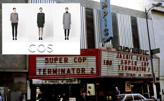 COS fall 2012 line and the Olympic Theater (credit: cinematreasures.org)