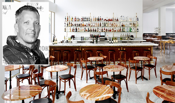 David Cooley and the inside of a Downtown Bottega Louie