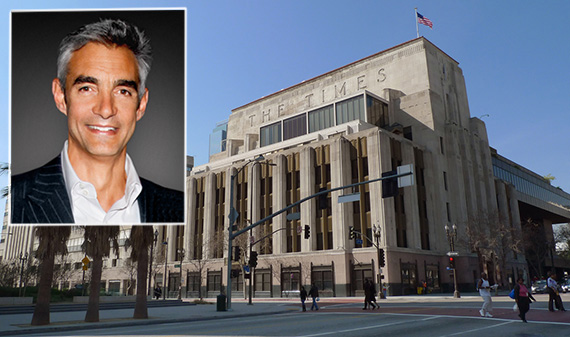 Tribune Media CEO Peter Liguori and the L.A. Times building at 202 West 1st Street (credit: Speakermedia, Zocalo Public Square)