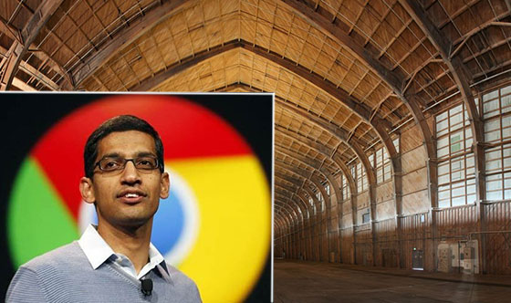 Google CEO Sundar Pichai and the Spruce Goose hangar on the Hercules campus while it was under renovation (credit: Matt Construction)