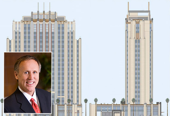 Olson CEO Robert Olson and renderings of the hotel at 6409 West Sunset Boulevard