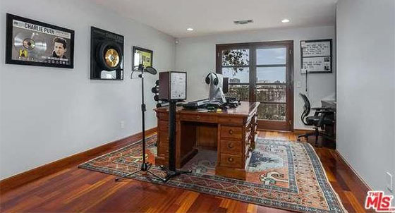 A recording area at the house at 6640 Whitley Terrace (credit: the MLS via Open Listings)