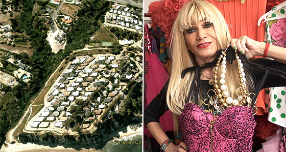 "Paradise Cove trailer park (via Google Earth) and a still of Betsey Johnson on ""House of Style"""
