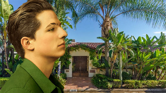 Charlie Puth and the house he is selling at 6640 Whitley Terrace (via Charlieputh.com and Shooting LA)