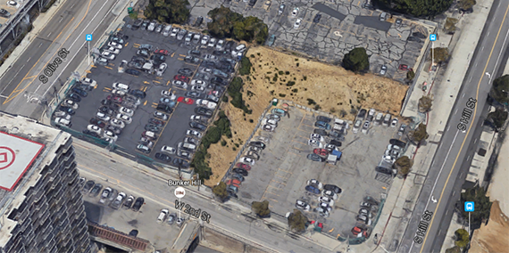 Colburn School's land on West 2nd Street (credit: Google Earth)