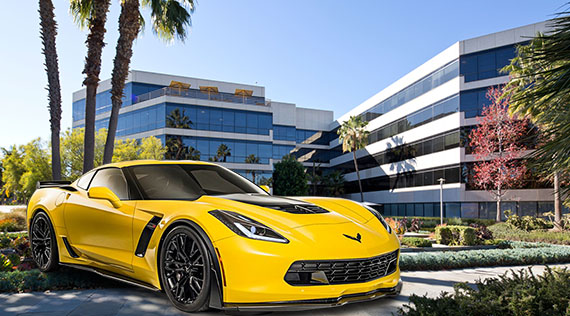 The Colorado Center at 2401-2501 Colorado Boulevard and 2400-2500 Broadway and a 2016 Corvette Z06 (credit: Business Wire, Chevrolet)