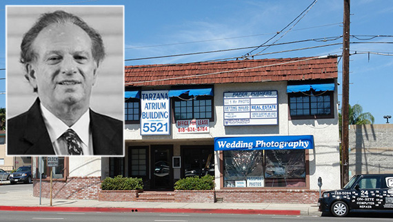 The existing office building at 5521 Reseda Boulevard and Steve Wasserman