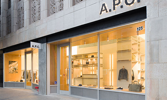 French retailer A.P.C.'s DTLA storefront at 125 West 9th Street (Credit: Taiyo Watanabe, c/o Warren Office for Research and Design)