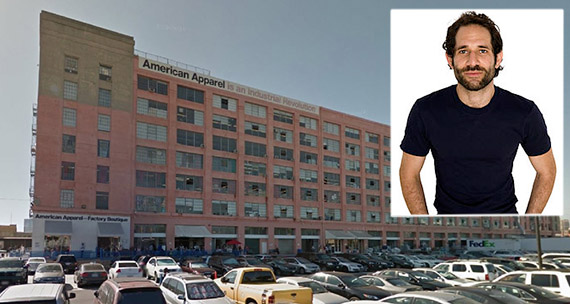 American Apparel's DTLA factory and headquarters at 747 Warehouse Street and its former CEO Dov Charney (Credit: Architecture + Branding)