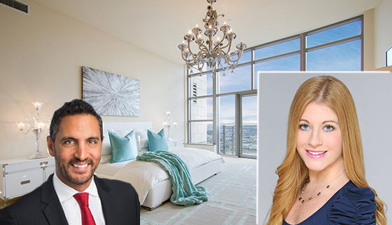Inside a unit at the Carlyle Residences, and, from left: Mauricio Umansky of the Agency and Samantha Saxs of Elad Group