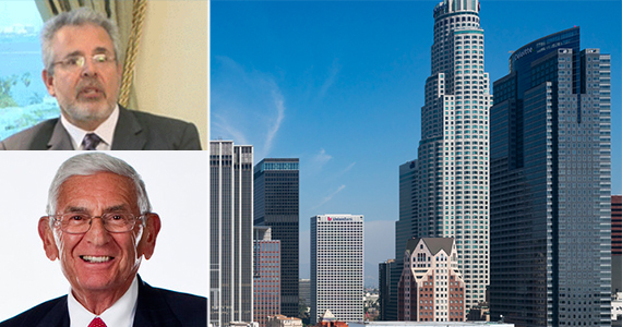 A portion of the DTLA skyline (by Hunter Kerhart), and top left: Crescent Heights CEO Russell Galbit (credit: Carl Hersh), bottom left: Eli Broad (via Elibroad.com)