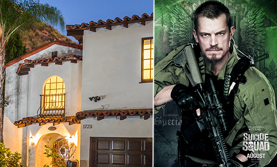"The house at 1723 Viewpoint Drive (via Halton Pardee + Partners) and Joel Kinnaman in a ""Suicide Squad"" post (via Warner Brothers)"