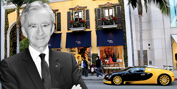 The Bijan storefront at and LVMH CEO Bernard Arnault
