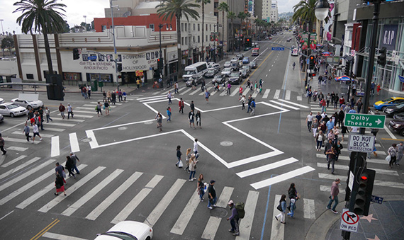 The intersection at Hollywood Boulevard and Highland Avenue (Credit: LA Great Streets Tumblr)