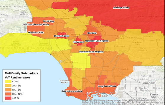 A heatmap of rental growth (via Steve Basham of CoStar)