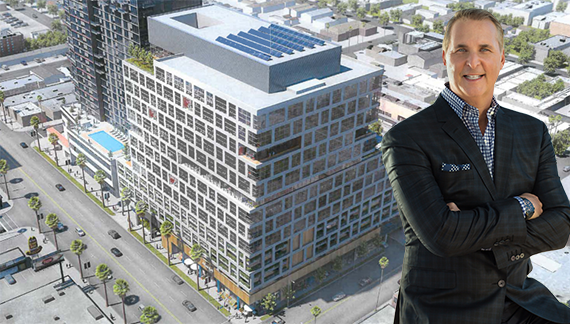 Rendering of the project at 5901 Sunset Boulevard and Hudson Pacific CEO Victor Coleman