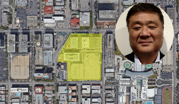 Jamison founder and CEO David Lee and the development site along Wilshire Boulevard