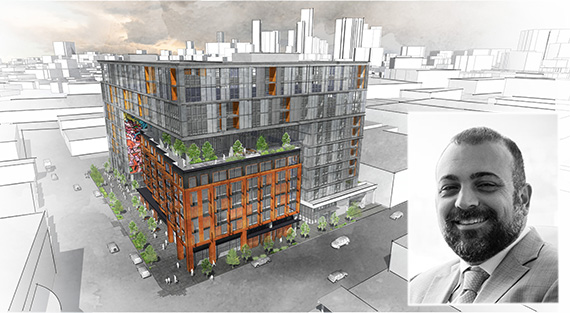 Rendering of the project at 527 South Colyton Street and Bolour CEO Mark Bolour (Credit: Bolour Associates)